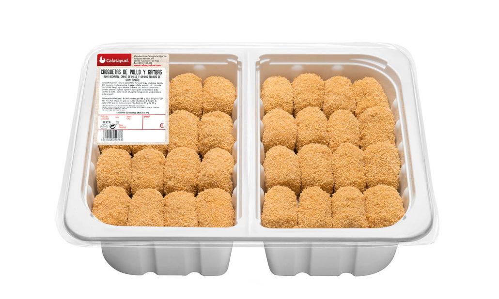 Croquetas de pollo y gambas bandeja bipack 2 kg
