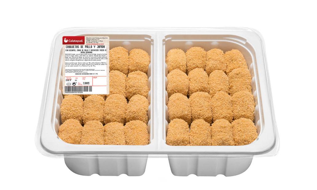 Croquetas de pollo y jamón bandeja bipack 2 kg