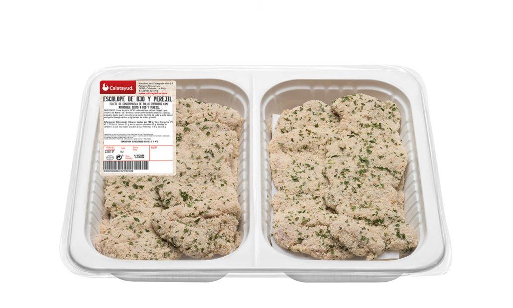 Escalopes de pollo con ajo y perejil bandeja bipack 1.250 kg