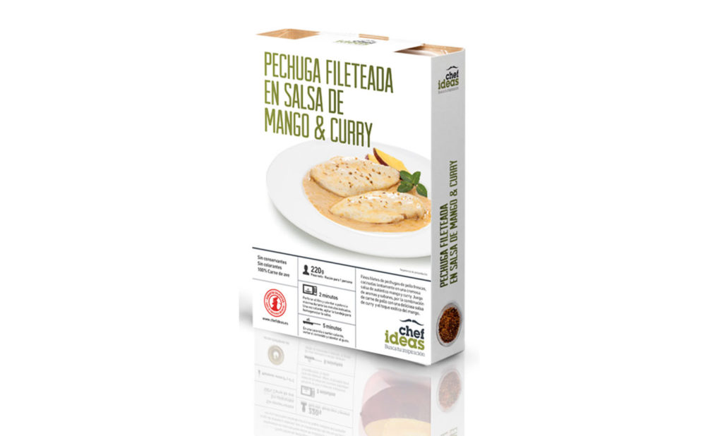 Pechuga fileteada en salsa de mango y curry 220 gr