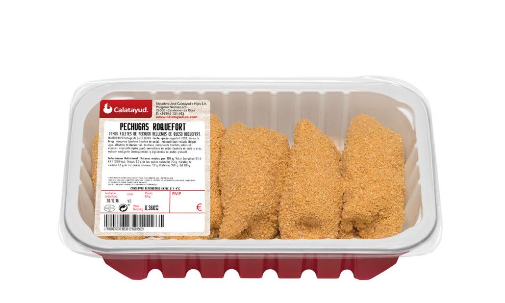 Pechugas de pollo rellenas de queso roquefort bandeja PLS