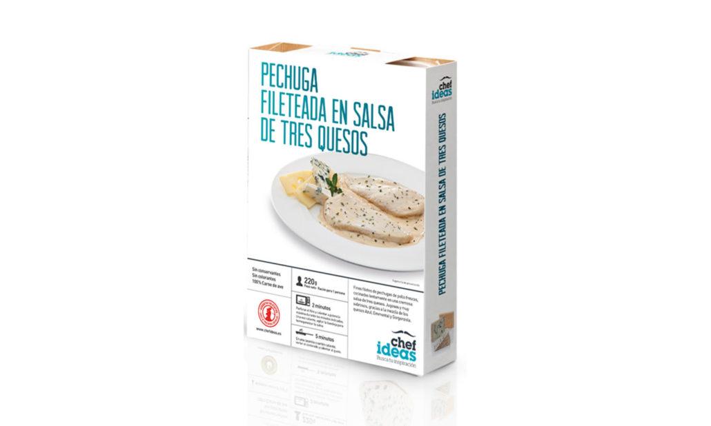Pechuga fileteada en salsa de tres quesos 220 gr