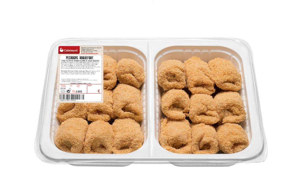 Pechugas de pollo rellenas de queso roquefort bandeja bipack 1.300 kg