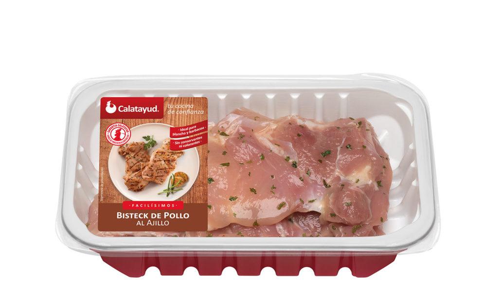 Bistec de pollo al ajillo bandeja PLS