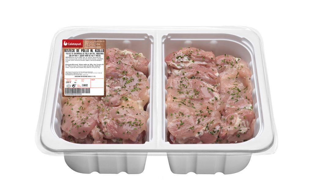 Bistec de pollo al ajillo bandeja bipack 2 kg